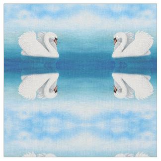 Elegant Solitary Mute Swan Fabric
