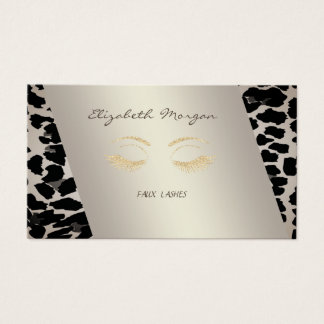 Elegant Sophisticated Modern,Leopard Print,Lashes Business Card