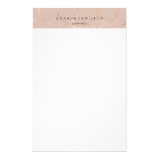 Elegant sophisticated rose gold geometric chic stationery