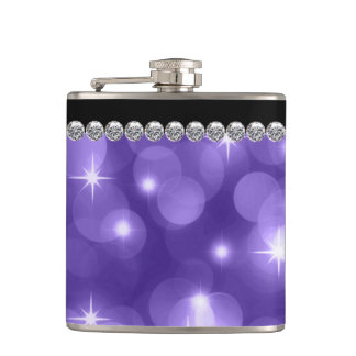 Elegant Sparkle Diamonds Purple Hip Flask