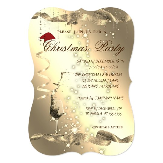 Elegant ,Sparkle,Glass,Corporate Christmas Party, Card