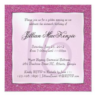 "Elegant Sparkling Pink Sweet 16 Glitter Invite 5.25"" Square Invitation Card"