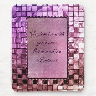 Elegant Sparkling Purple Custom Frame Designs Mouse Pad