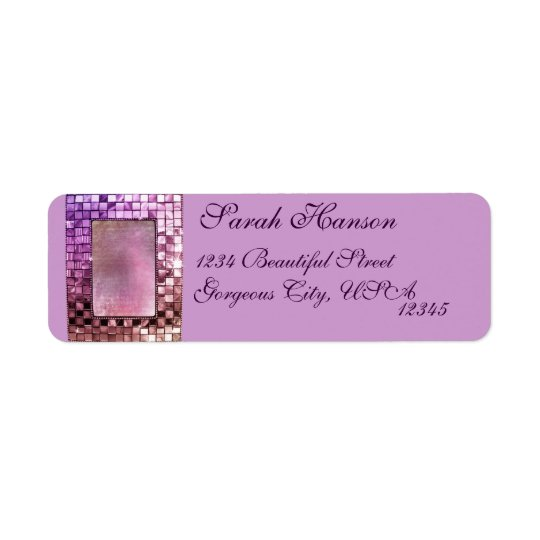 Elegant Sparkling Purple Frame Custom Label