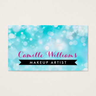 ELEGANT SPARKLY LIGHT whimsical pink aqua bokeh Business Card