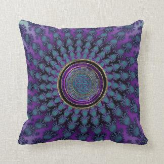 Elegant Spiral Fractal with Celtic Knot Mandala Cushion