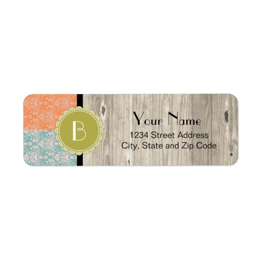 Elegant Split Damask Pattern with Monogram Return Address Label