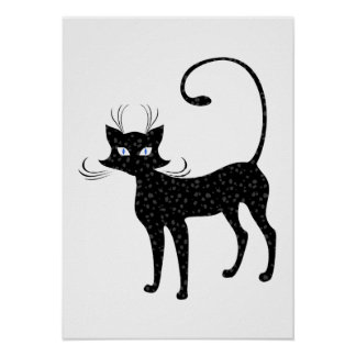 Elegant Spotted Black Cat Posters