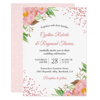 Elegant Spring Blush Pink Floral Confetti Wedding Card