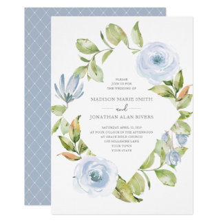 Elegant Spring Floral Diamond Dusty Blue Wedding Card