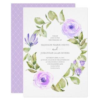 Elegant Spring Floral Diamond Purple Wedding Card