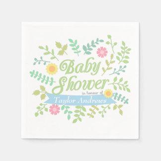 Elegant Spring Leaves Floral Wreath Baby Shower Disposable Serviettes