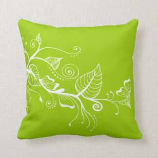 Elegant Spring Swirls Leaf Lime Green Pillow