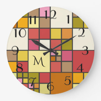 Elegant Stained Glass Pattern Monogram Wall Clock