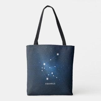 ELEGANT STARRY BLUE WATERCOLOR UNIVERSE - AQUARIUS TOTE BAG