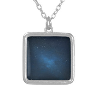 ELEGANT STARRY BLUE WATERCOLOR UNIVERSE SILVER PLATED NECKLACE