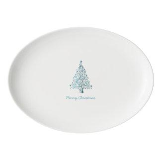 Elegant Starry Decorative Blue Christmas Tree Porcelain Serving Platter
