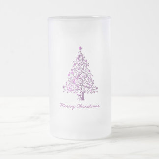 Elegant Starry Decorative Pink Christmas Tree Frosted Glass Beer Mug