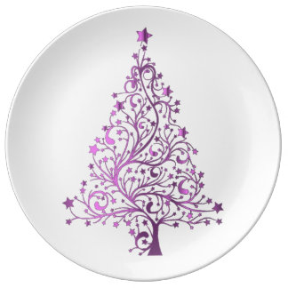 Elegant Starry Decorative Pink Christmas Tree Porcelain Plate