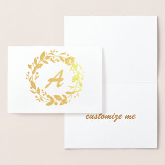 Elegant Stationary Monogram Initial Inside Wreath Foil Card
