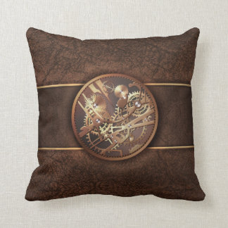 elegant steampunk gears gold brown cushion