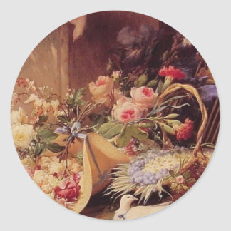 Elegant Still Life with Flowers Classic Round Sticker