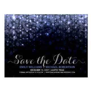 Elegant string lights blue bokeh save the date postcard