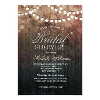 Elegant string lights brown bokeh bridal shower card