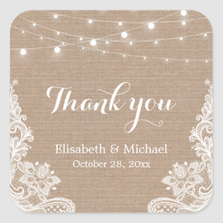 Elegant String Lights Burlap Lace Thank You Square Sticker