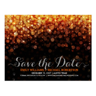 Elegant string lights gold bokeh save the date postcard