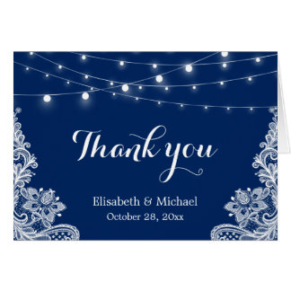 Elegant String Lights Lace Navy Blue Thank You Card