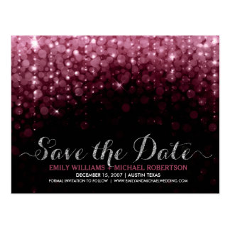 Elegant string lights marsala bokeh save the date postcard