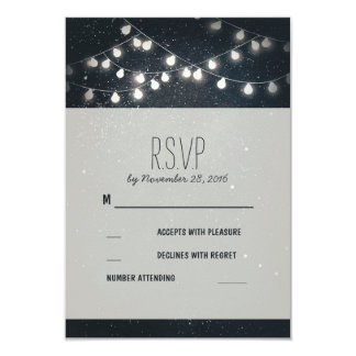 Elegant String Lights Night Stars Wedding RSVP 9 Cm X 13 Cm Invitation Card