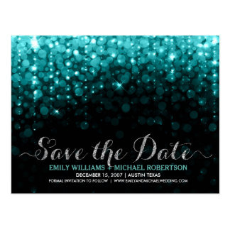 Elegant string lights turquois bokeh save the date postcard