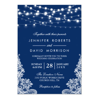Elegant String Lights White Lace Navy Blue Wedding Card