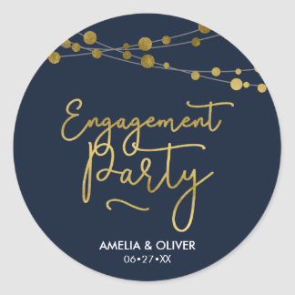 Elegant Strings of Lights Blue Engagement Party Classic Round Sticker