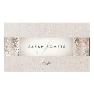 Elegant Striped Beige FAUX Silver Sequin Monogram Business Card Templates