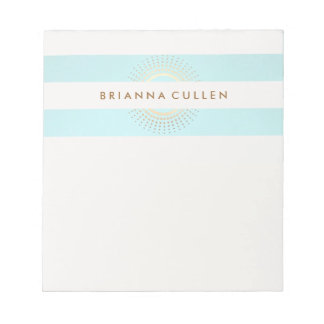 Elegant Striped Turquoise and Gold Circles Notepad