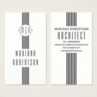 Elegant stripes and monogram black white business card