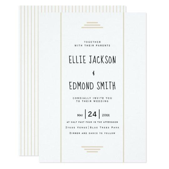 Elegant stripes beige simple wedding card