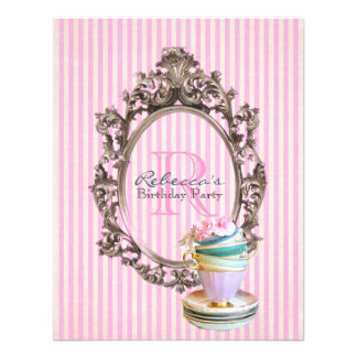 elegant stripes cupcake vintage birthday party announcement
