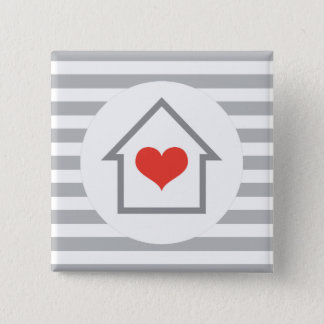 Elegant stripes house with heart home 15 cm square badge