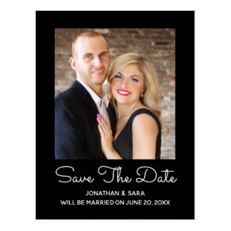 Elegant Style Black | Photo Save The Date Postcard