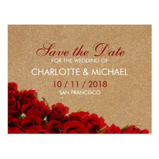 Elegant style red roses postcard