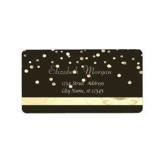 Elegant  Stylish ,Black,Fux Gold Foil Confetti Label