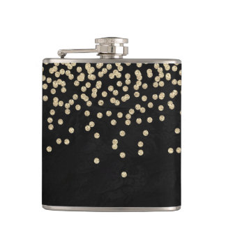 Elegant Stylish Black- Shiny Foil Confetty-Diamond Hip Flask