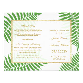 Elegant Stylish Bracken Wedding Program 21.5 Cm X 28 Cm Flyer