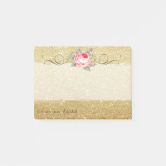 Elegant Stylish ,Chic ,Rose,Glittery Post-it Notes