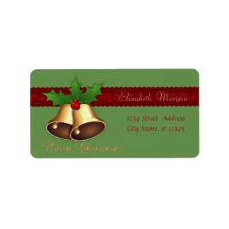 Elegant Stylish Christmas Bells Holly Branches Label
