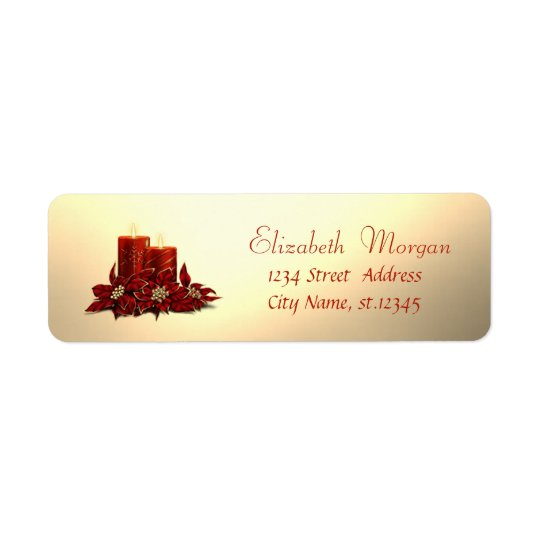 Elegant,Stylish Christmas Candle, Faux Gold Return Address Label